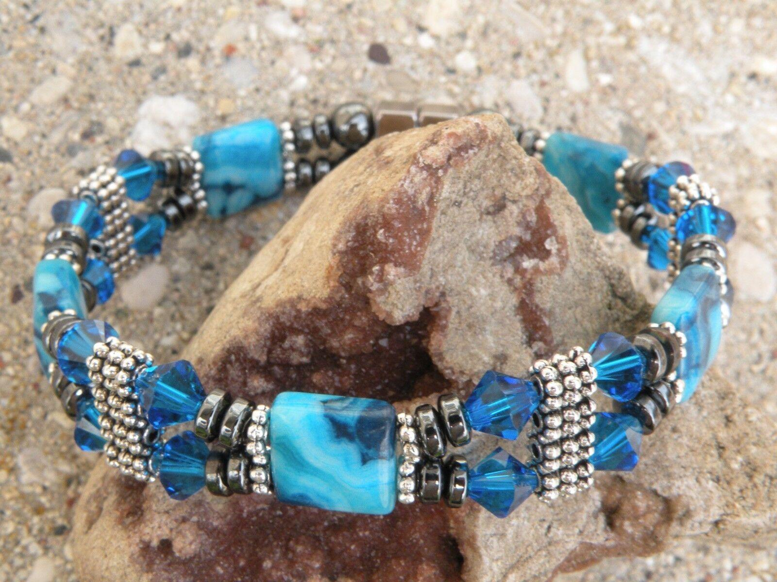 Women's Magnetic Bracelet Anklet bluee Crazy Lace w Capri bluee SWAROVSKI 2Row