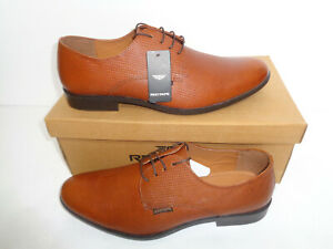 red tape mens tan leather shoes new smart formal casual
