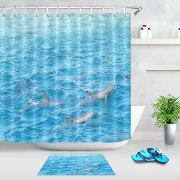 Dolphins In The Blue Sea Shower Curtain Waterproof Fabric Bathroom Accessories