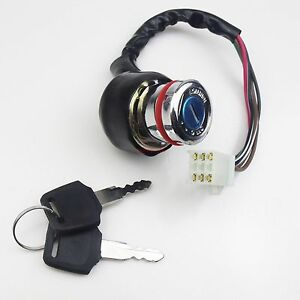 ignition key switch 6 wire kazuma falcon roketa atv 50cc 70cc 90cc 110cc 125cc ebay