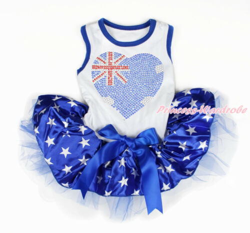 4th July Rhinestone USA AU Heart Print White Sleeveless Patriotic Star Dog Dress