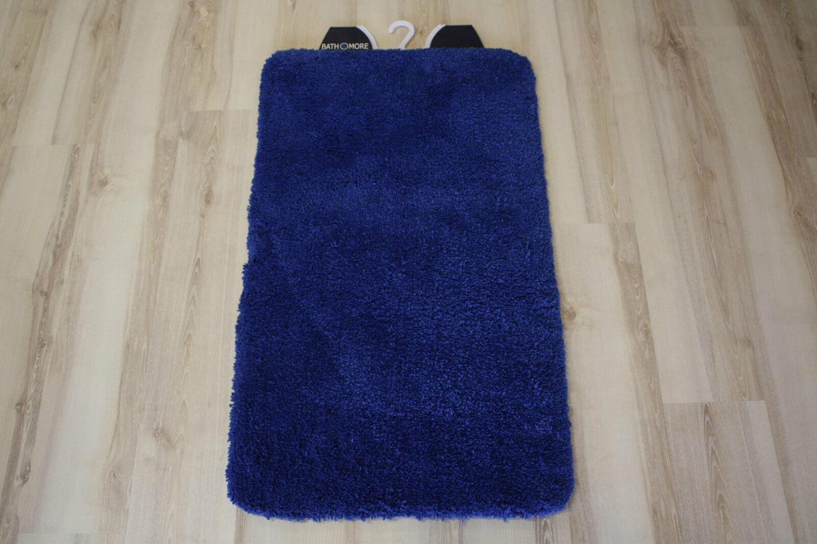 Tapis de Bain Bleu Uni 80x150cm Souple