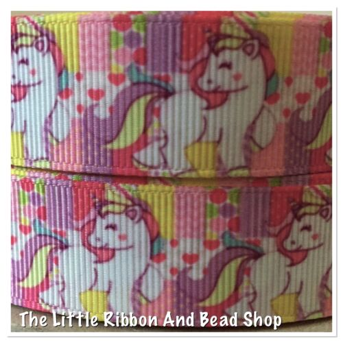 "✂ 1m GROSGRAIN 7//8/"" 22mm MULTI COLOURED RAINBOW UNICORN PRINTED RIBBON"