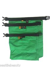 Green 3pcs waterproof dry storage sack bag Canoe Boating Floating Camping