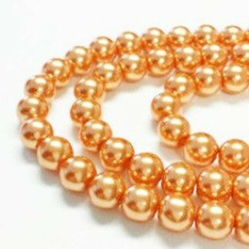 1 Strand 4mm Burnt Orange Pearl Glass Pearls 216 Beads