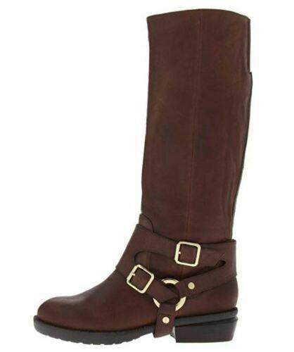 damen`s KENNETH COLE Knee High Real Leather Biker Stiefel UK Größe 8 braun