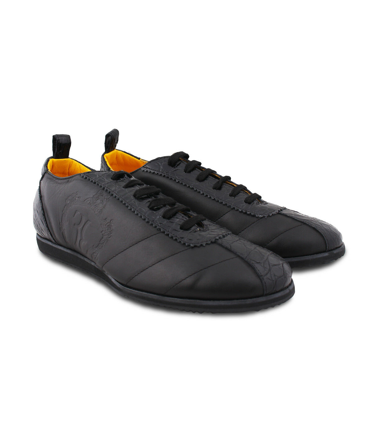 Billionaire Couture Men's Black Calf & Croco Leather Sneakers with Quilted Logo