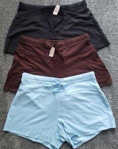 Body By Victoria Juego De 3 Elastico Suave Pijama Pantalones Cortos Azul Marron Negro S Nuevo Con Etiquetas Ebay