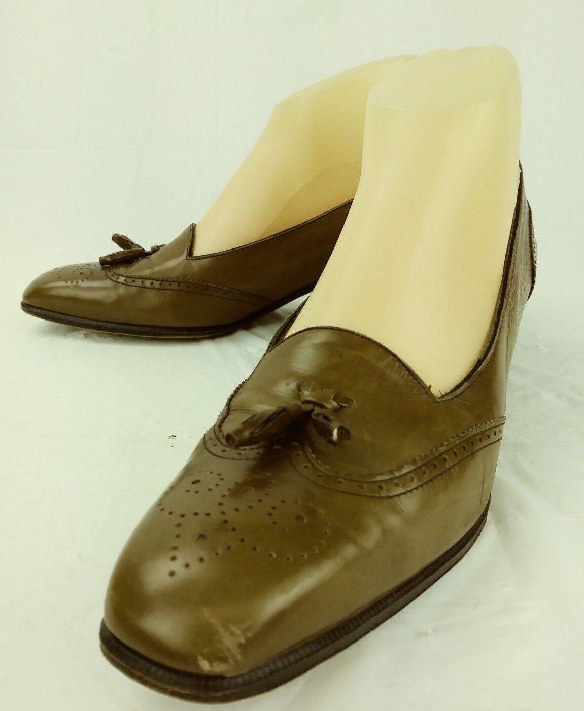 Salvatore Ferragamo Wos Loafer Heels US 9 AAA marron Leather Wing Tip Tassels 287