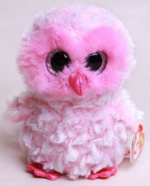 "6/"" TY Beanie Boo With Tag Cute Animals Twiggy Pink Owl Glitter Eyes Plush Toys"