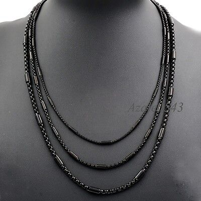 """2/3/4MM 18""""~36"""" MENs BOYs Black Tone Tube Box Stainless Steel Chain Necklace"""