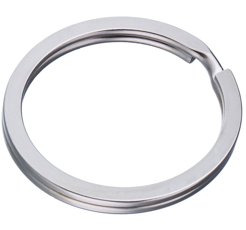 100 Schlüsselringe 30mm FLACH Schlüsselring Design Stahlring Edelstahl Anhänger