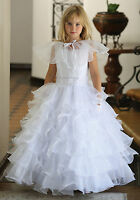 First Communion Church Flower Girl Dress Confirmation Christening White Gown