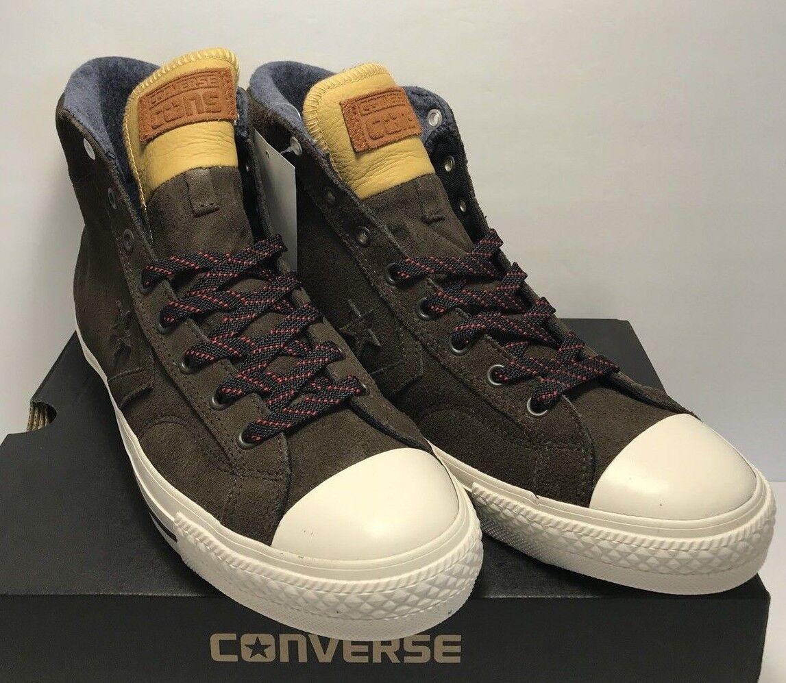 Converse Uomo Dimensione 8 donna 10 CTAS Star Player Suede HI scarpe da ginnastica Marrone New