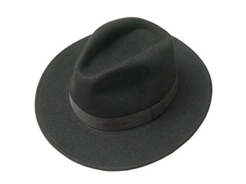 Black Wool Felt Cowboy Fedora Trilby Hat Indiana Jones Style Wide Brim