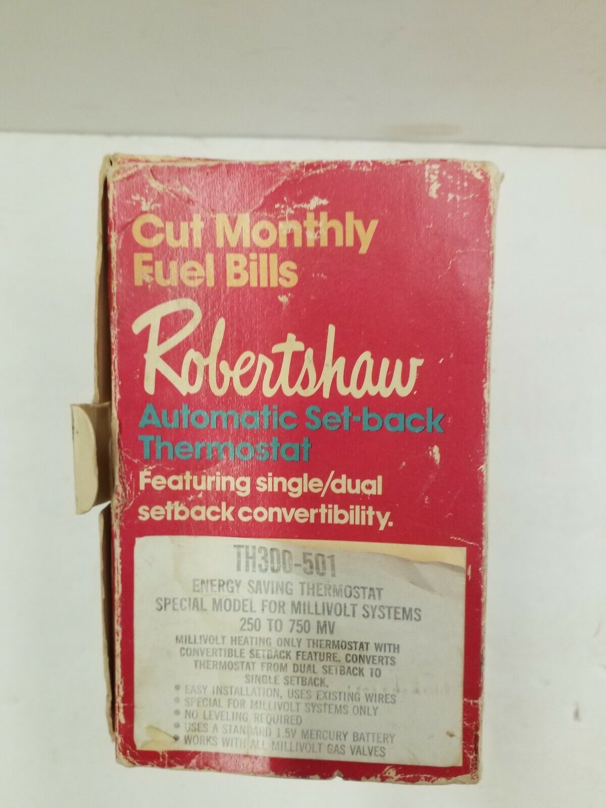 Robertshaw Automatic Set Back Thermostat TH 300-501 Vintage 1973 on