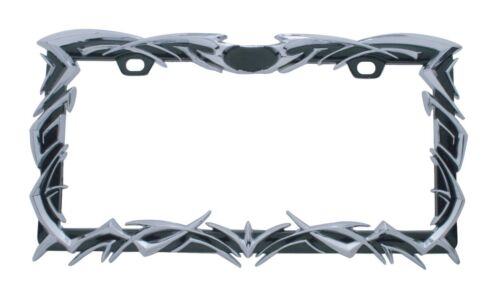 Tribal Design with Chrome Accents Black License Frame