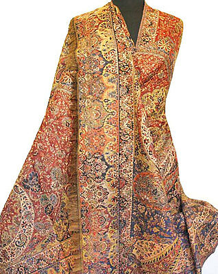 Large Superior Jamavar Shawl Paisley Jamawar from India Pashmina Very Detailed
