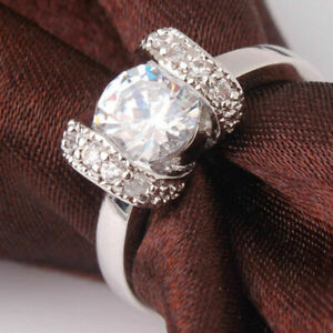 24K WHITE GOLD FILLED BOW DESIGN SOLITAIRE WHITE TOPAZ WITH ZIRCONIA SIZE O