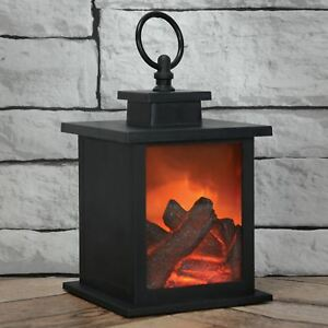 Lyyt Led Fireplace Lantern With Timer Fire Flame