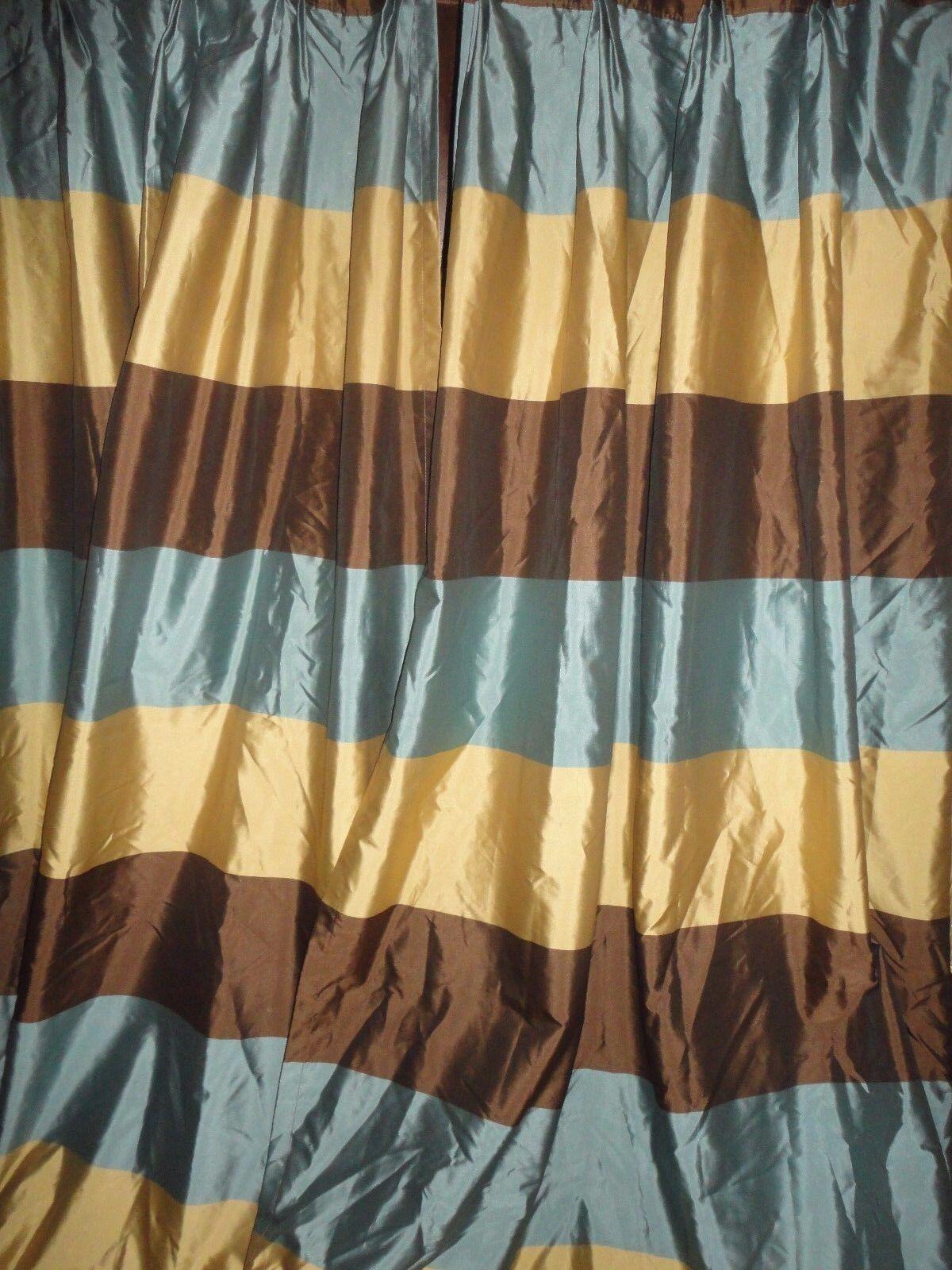 Chris Madden pellizco Plisada Azul Marrón oro A Cuadros (par) Paneles de cortinas 23 X 83