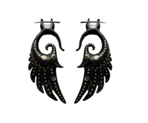 Horn Earrings Dangle Tribal Carved Fake Gauge Post Buffalo Exotic Shell Handmade