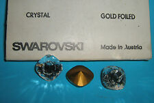 SWAROVSKI ® - 1 Pz  Cabochon Quadrato 4470 -16 mm.  Crystal Gold Foiled