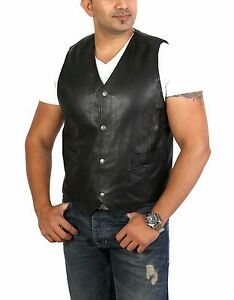 Mens real LEATHER waistcoat traditional classic black SOFT stud buttons gilet