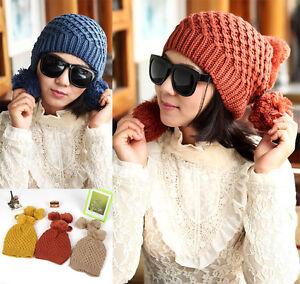 46d6a0814c1b05 Pom Pom Womens knit Baggy Ear Flap Beanie Warm Winter Ski Hat Soft ...
