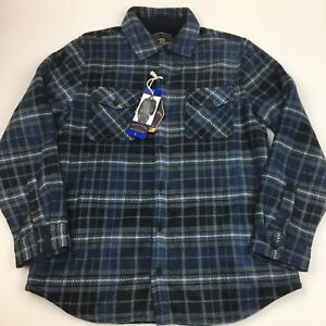 NEW-Freedom-Foundry-Mens-Super-Plush-Shirt-Jacket-Pockets-Soft-Sherpa-Lined-Blue