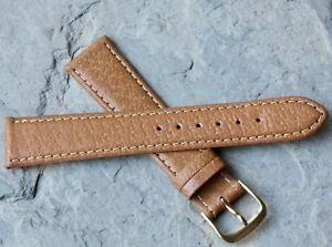 Classic-tan-Genuine-Pigskin-19mm-vintage-watch-strap-contrast-stitched-NOS-1960s