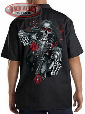 HEAVY METAL SKELETON w/ PISTOLS Mechanics DICKIES Work Shirt Hardcore Biker Guns