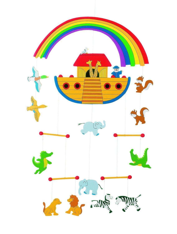 Mobile ARCHE NOAH aus Holz Kinderzimmer Deko für Kinder Holzspielzeug Baby Holzmobil °°NEU°° Mobile