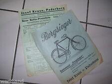 Oldtimer Fahrrad Prospekt Bergsieger Herrenrad Josef Kruse  Preisliste Paderborn