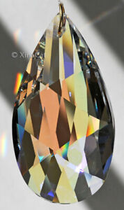 Huge-63mm-Pear-Matrix-Crystal-Clear-AB-Prism-SunCatcher-2-5-inches