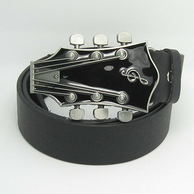 Western New Black Silver Guitar Belt Buckle Bass Mens Metal Belt Buckle Leather
