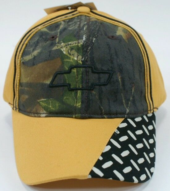 Chevrolet Chevy Decorated Decorated Chevy Hat Cap Mossy Oak Camo Mustard Color Diamond Plate NWT 4b2979