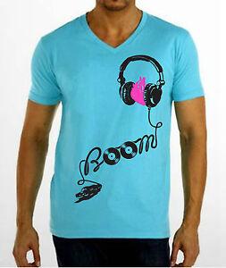 Boom-V-Neck-T-Shirt-EDM-DJ-Club-Rave-Electro-Headphones-EDC-Vegas-Electric-Zoo