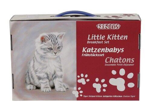 Kindergedeck Könitz Getigertes Kätzchen Tasse Teller Müslischale Karton 3 tlg