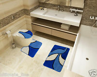 Bath Mat Toilet Rug Set 2 & 3 piece  Non-Slip Bathroom Pedestal Washable BLUE