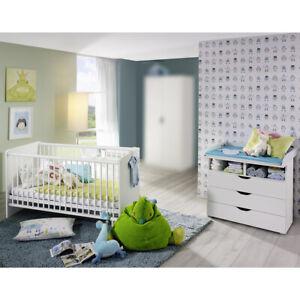 Details zu Babyzimmer Set Alvara 1 Bett Wickelkommode in Alpinweiß 2-teilig  Rauch Möbel