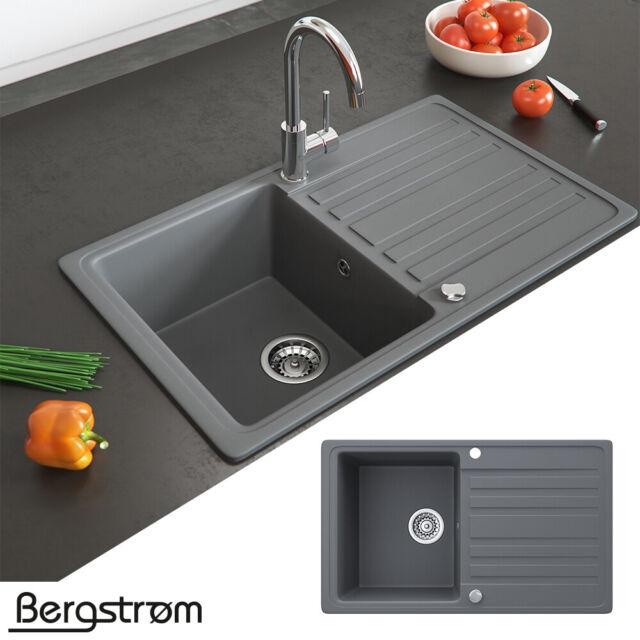 Bergström Granit Küche-Einbauspüle 10 x 10 mm Grau