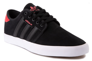 Adidas Seeley Men's Athletic Walking Casual Skate Shoe Black/Red New .