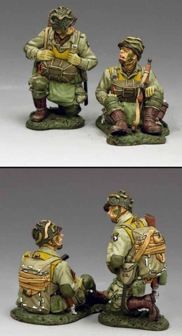 KING & COUNTRY D DAY DD266-2 U.S 101ST AIRBORNE KNEELING & SITTING PARATROOP MIB