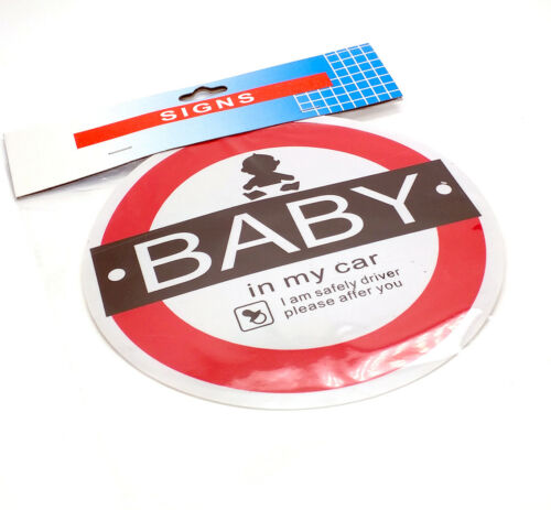 BABY IN MY CAR DISPLAY SIGNS CARS VEHICLE SIGN CHILD SAFETY SUCTION CUP BADGE