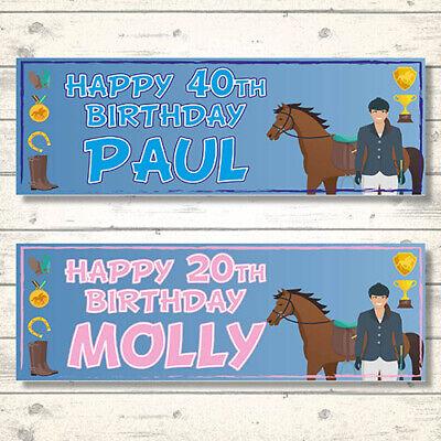 2 PERSONALISED HORSE JOCKEY BIRTHDAY BANNERS PINK// BLUE