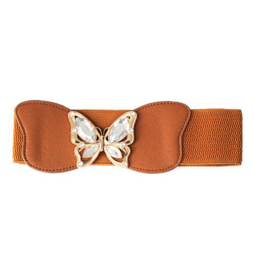 Elastisch Damen Taille Gürtel mit Schmetterling Form Schnalle Bund Zubehör