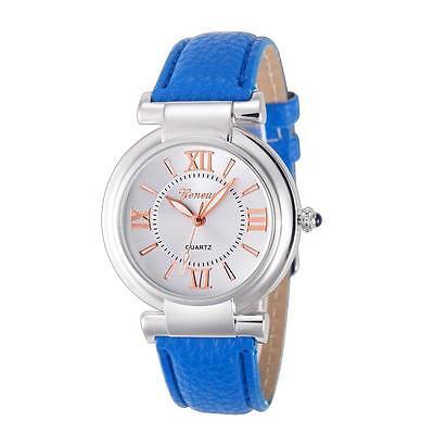 Geneva Vogue Women Girl Quartz Watch Roman Numerals Leather Casual Wrist Watch