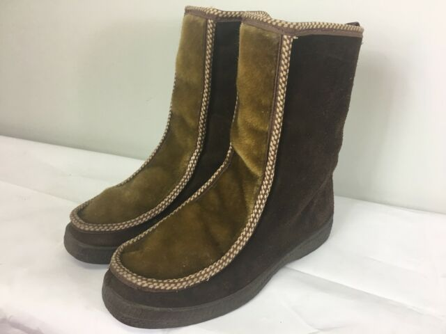 Vintage Fascinators Wms Brown Leather Suede Winter Snow Boots 8 Made In Italy
