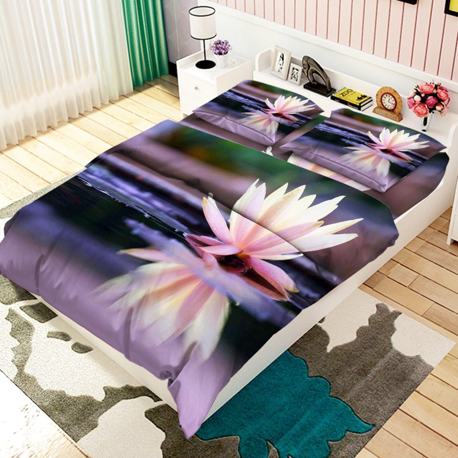 3D Water Lotus Kid 66 Bed Pillowcases Quilt Duvet Cover Set Single King UK Lemon